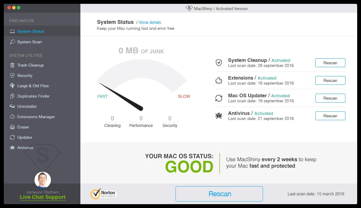 MacShiny - System Status